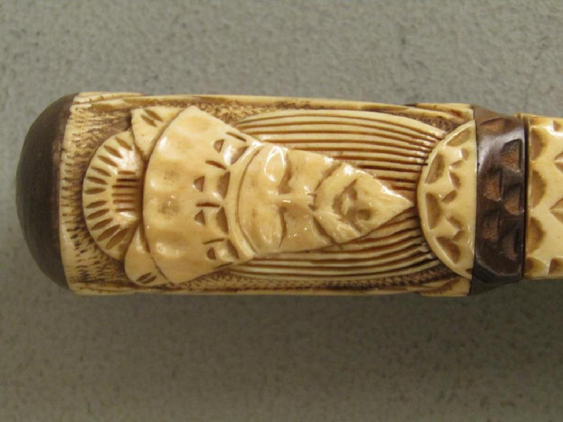 Carved Bone Handle and Small Bronze Box - 2