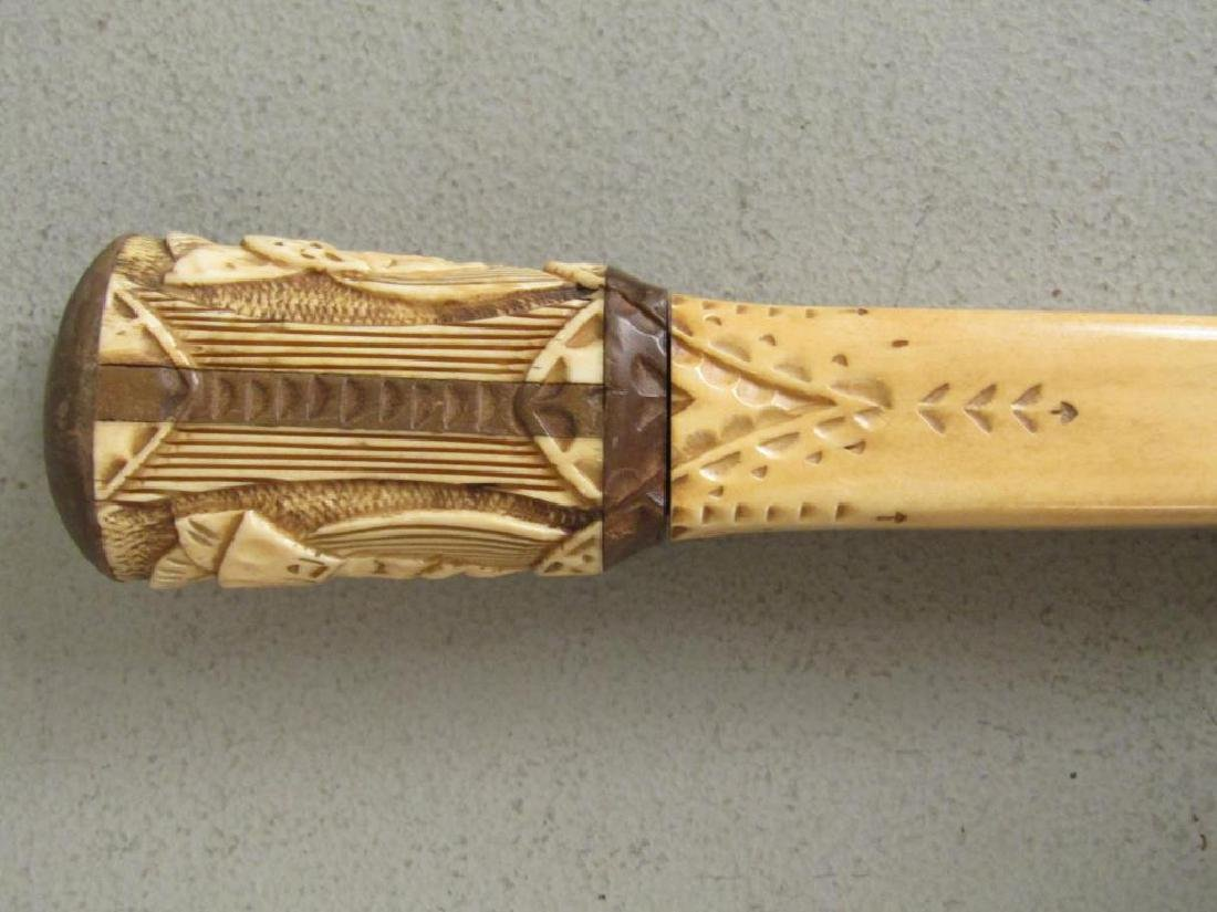 Carved Bone Handle and Small Bronze Box - 3