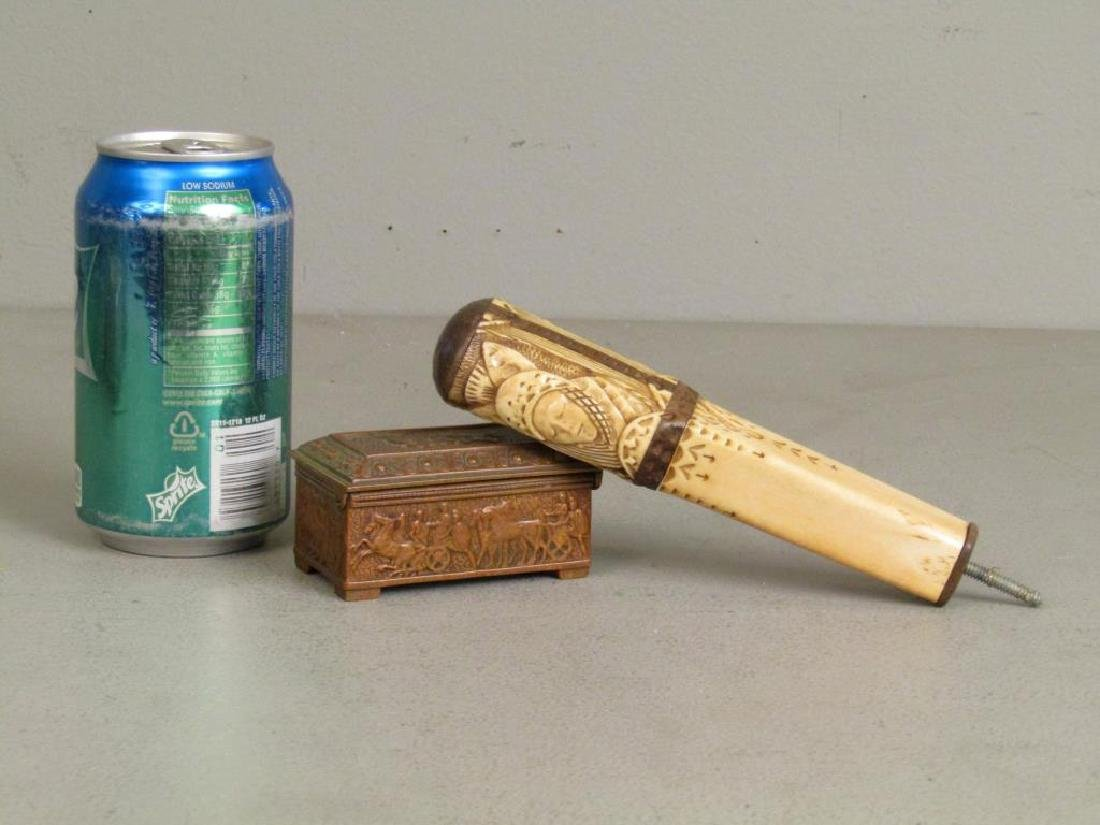 Carved Bone Handle and Small Bronze Box - 8