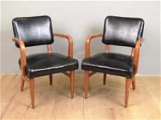 Pair W.H. Gunlocke Chair Co. Arm Chairs