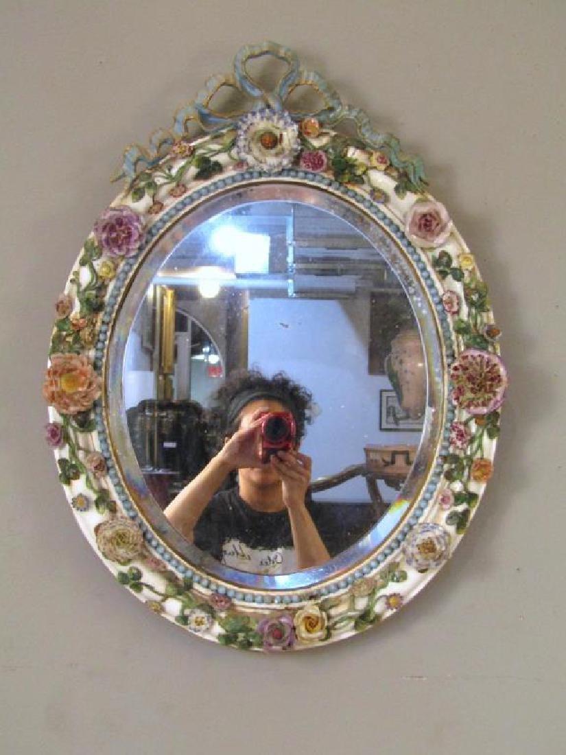 Meissen Porcelain Oval Mirror (As is)