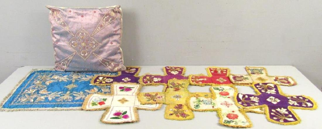 Assorted Religious Textiles and Pillow