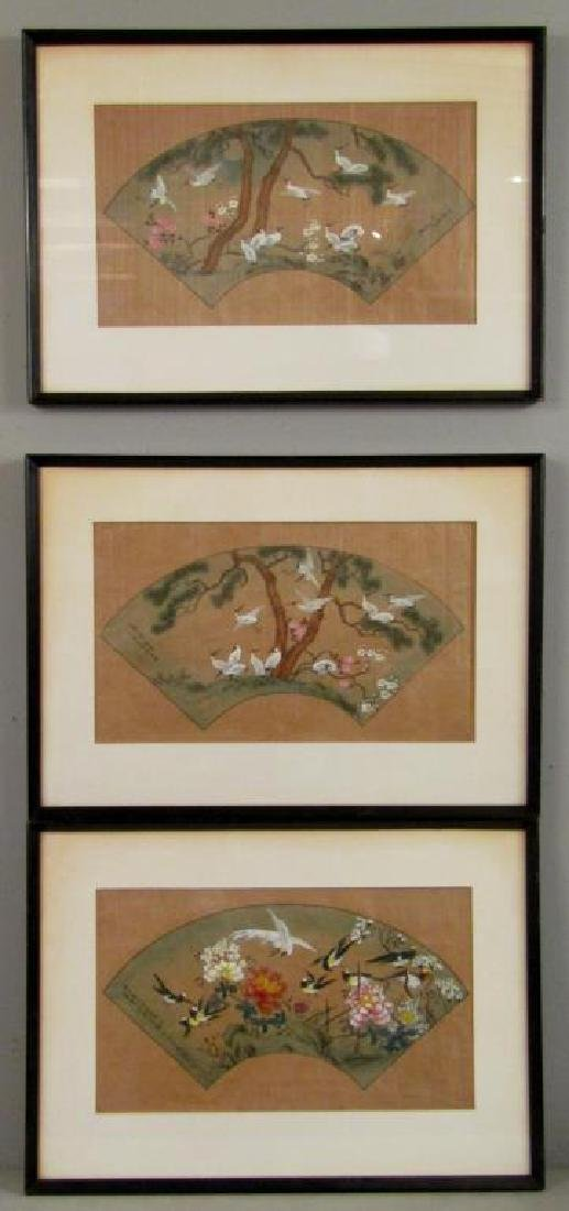 3 Japanese Silk Paintings