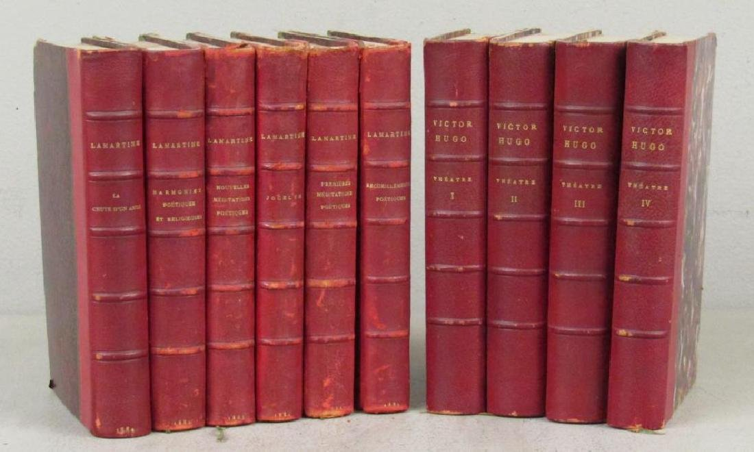 2 Sets of Red Leather Bound Books
