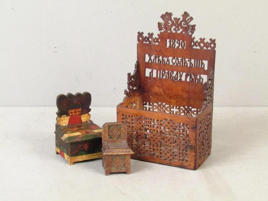 3 Artisan Russian Wood Salt Cellars