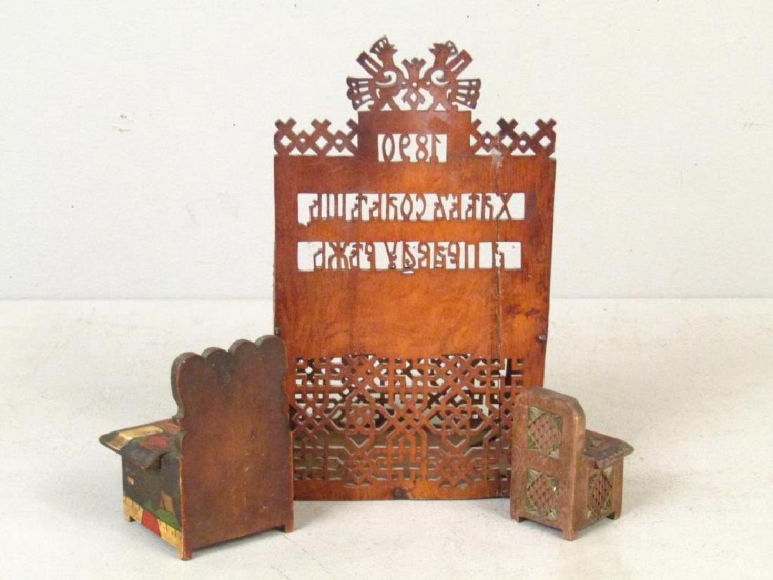 3 Artisan Russian Wood Salt Cellars - 4