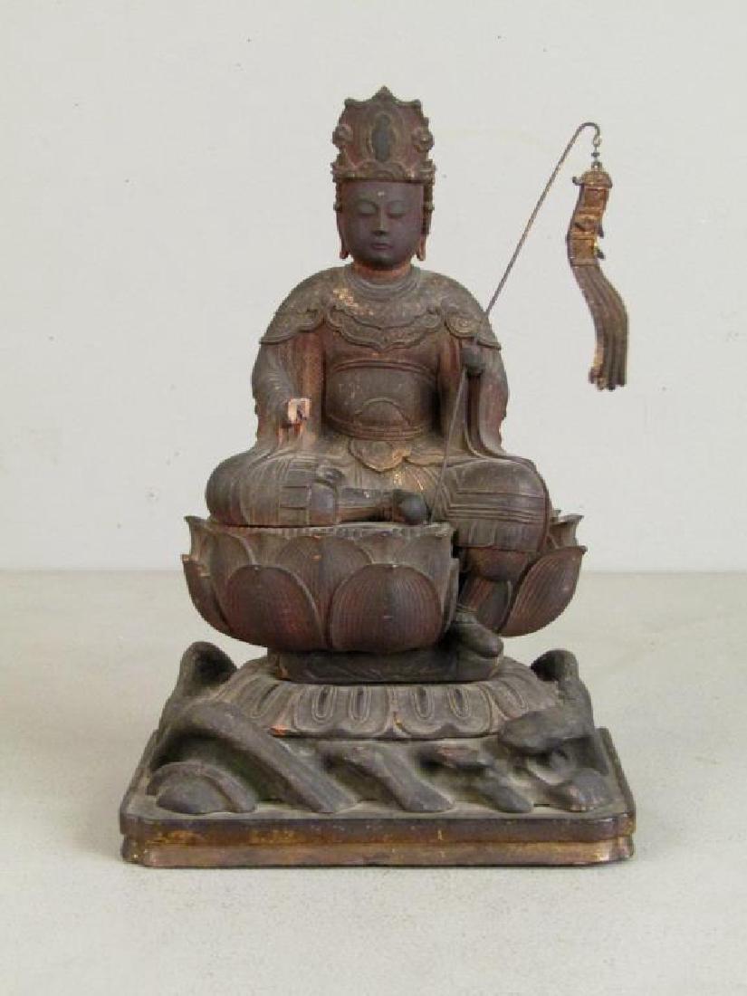 Chinese Carved Wood Seated Buddha/Bodhisattva
