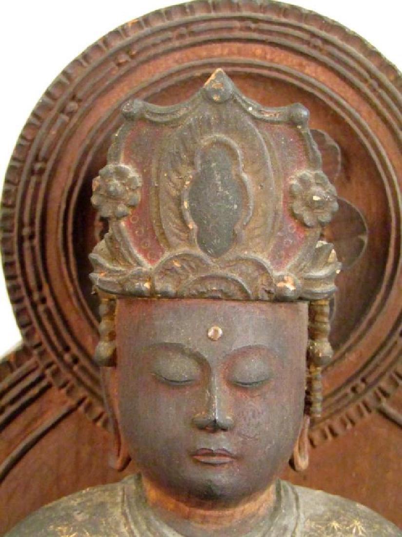 Chinese Carved Wood Seated Buddha/Bodhisattva - 2
