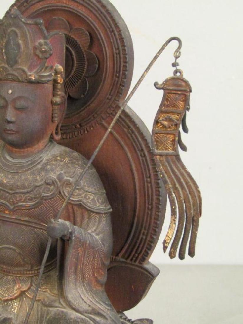 Chinese Carved Wood Seated Buddha/Bodhisattva - 3