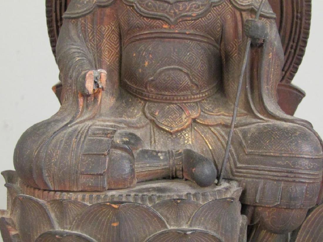 Chinese Carved Wood Seated Buddha/Bodhisattva - 4