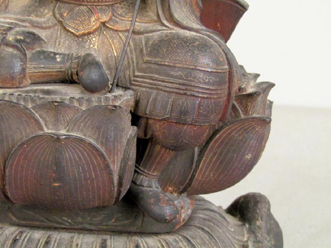 Chinese Carved Wood Seated Buddha/Bodhisattva - 5