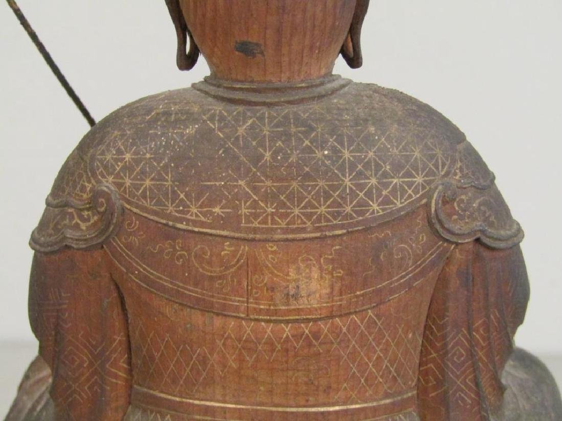 Chinese Carved Wood Seated Buddha/Bodhisattva - 7