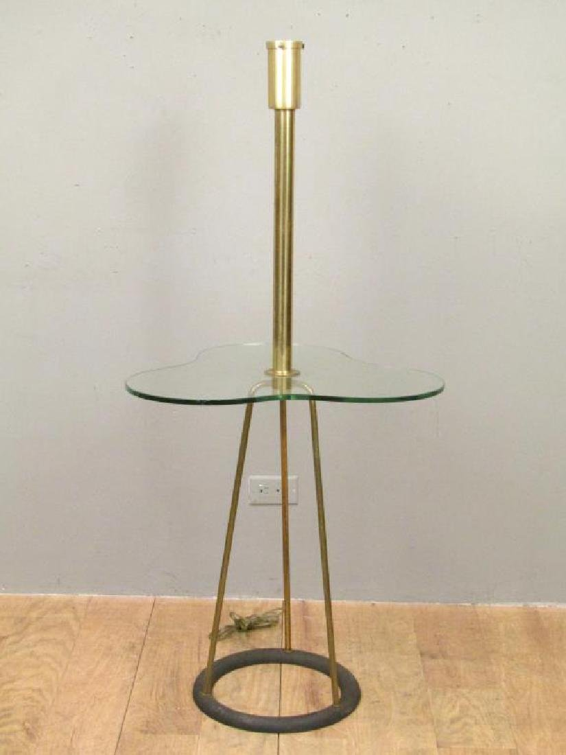 Mid Century Mixed Metal Floor Lamp Table