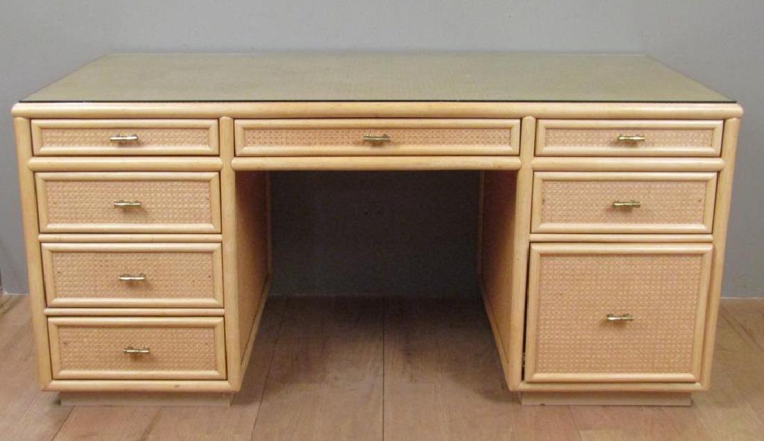 Mid Century Style Rattan Executive Desk