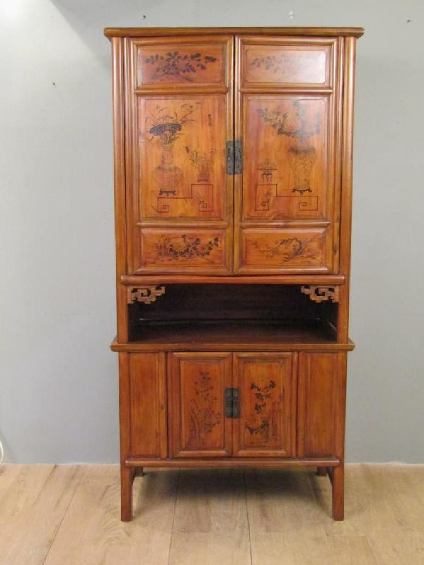 Antique Chinese 2 Part Cabinet
