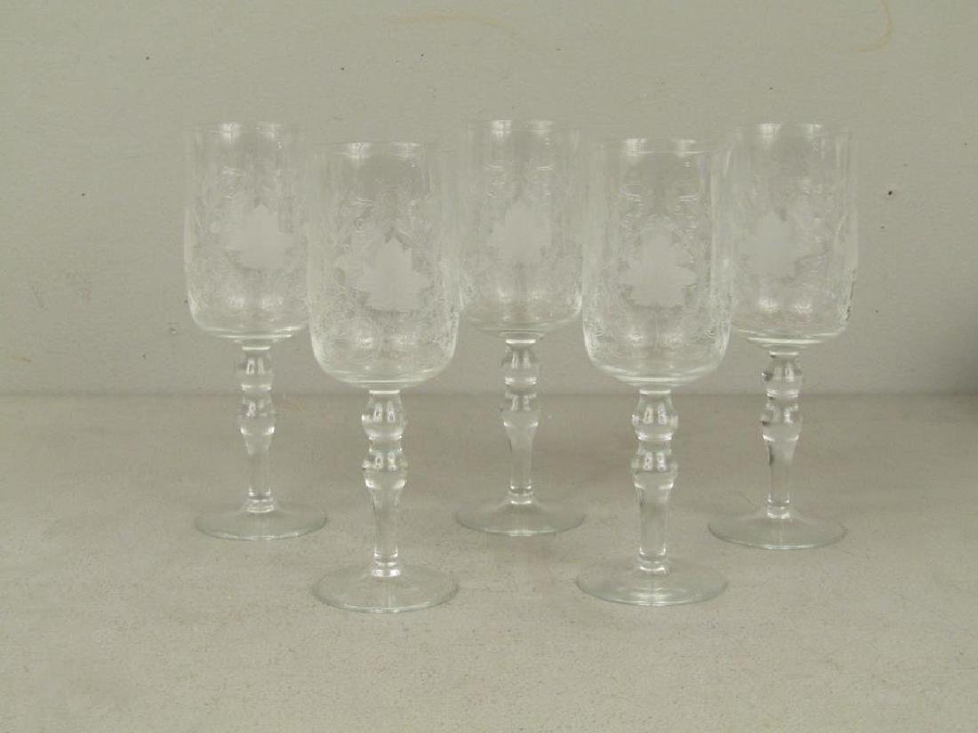 5 Vintage Etched Glass Stems