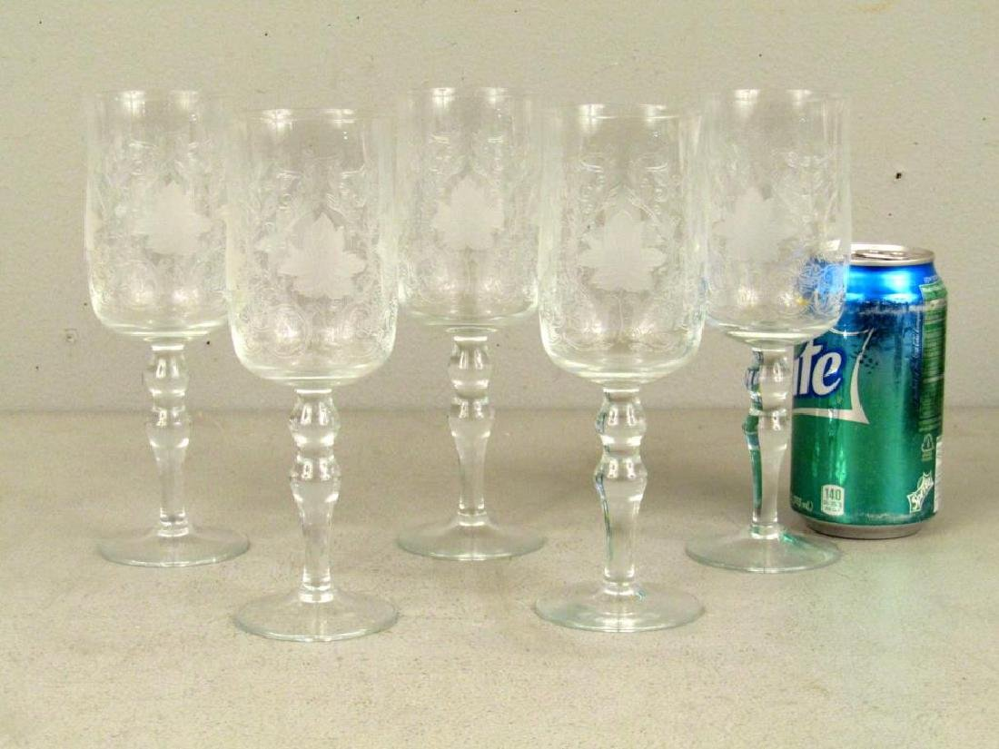 5 Vintage Etched Glass Stems - 2