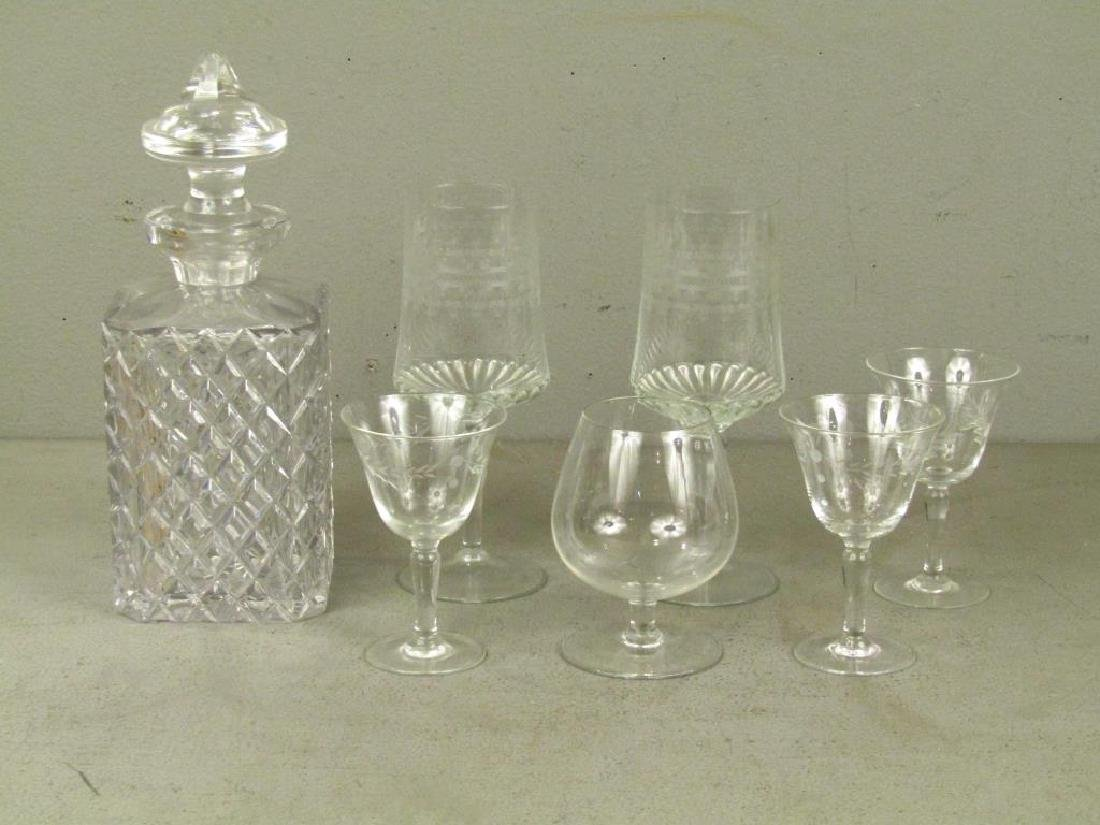 Cut Glass Decanter and Assorted Glassware