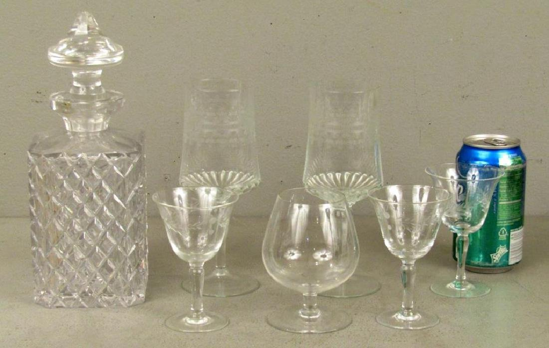 Cut Glass Decanter and Assorted Glassware - 2
