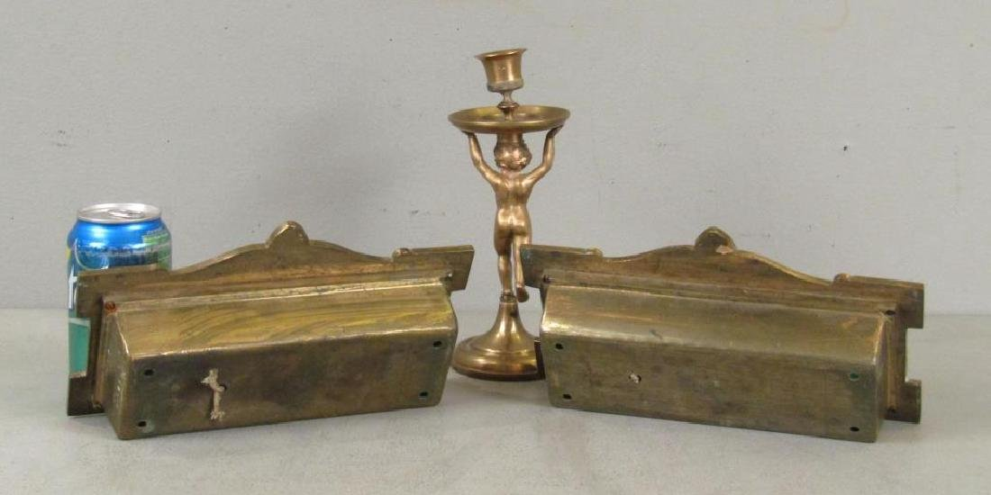Pair Russian Bronze Signs and Candleholder - 2