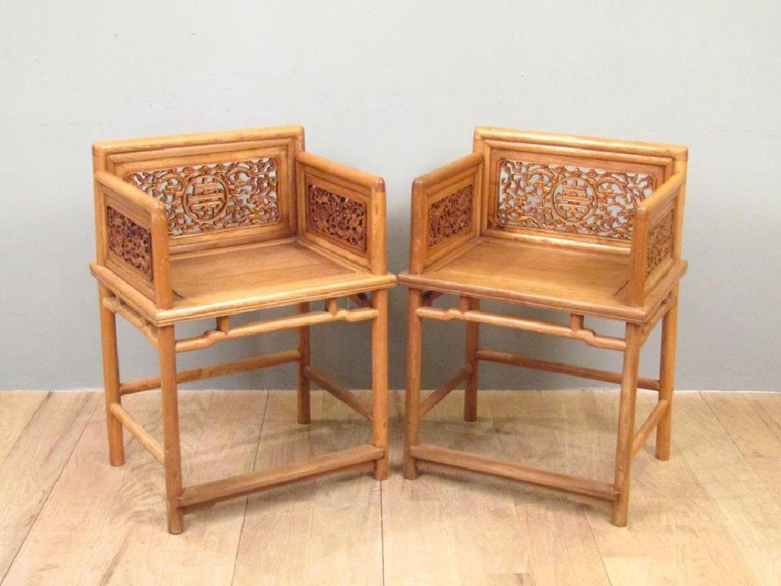 Pair Chinese Low Arm Chairs