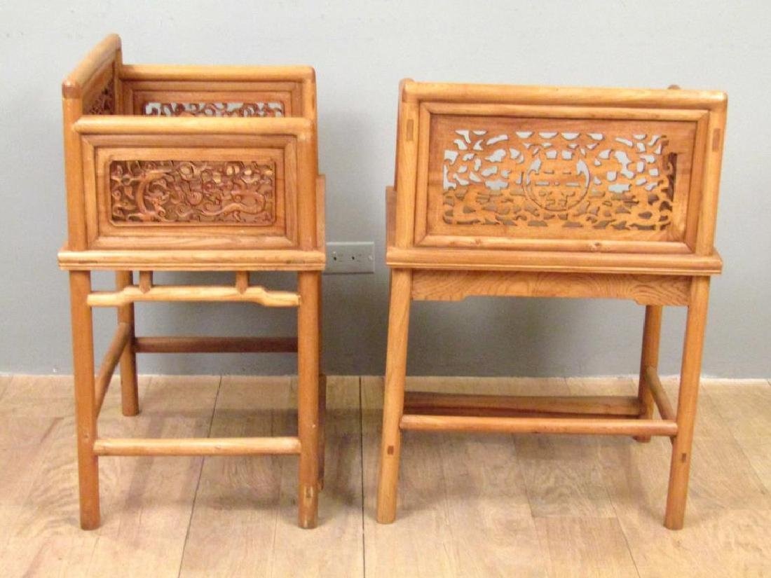 Pair Chinese Low Arm Chairs - 2