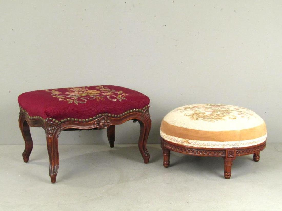 2 Needlepoint Upholstered Foot Stools