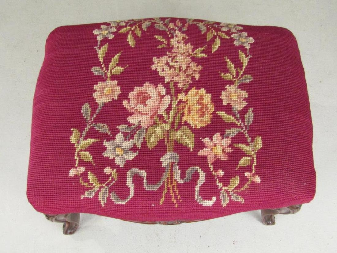 2 Needlepoint Upholstered Foot Stools - 2
