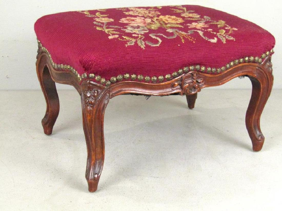 2 Needlepoint Upholstered Foot Stools - 3