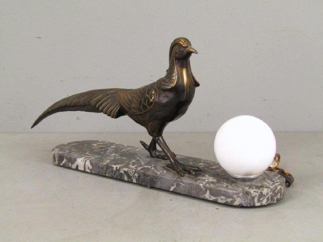 Painted Metal and Marble Desk Lamp