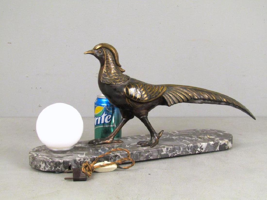 Painted Metal and Marble Desk Lamp - 2