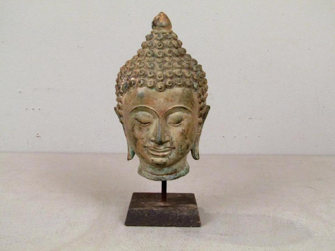 Bronze Bodhisattva Head on Stand