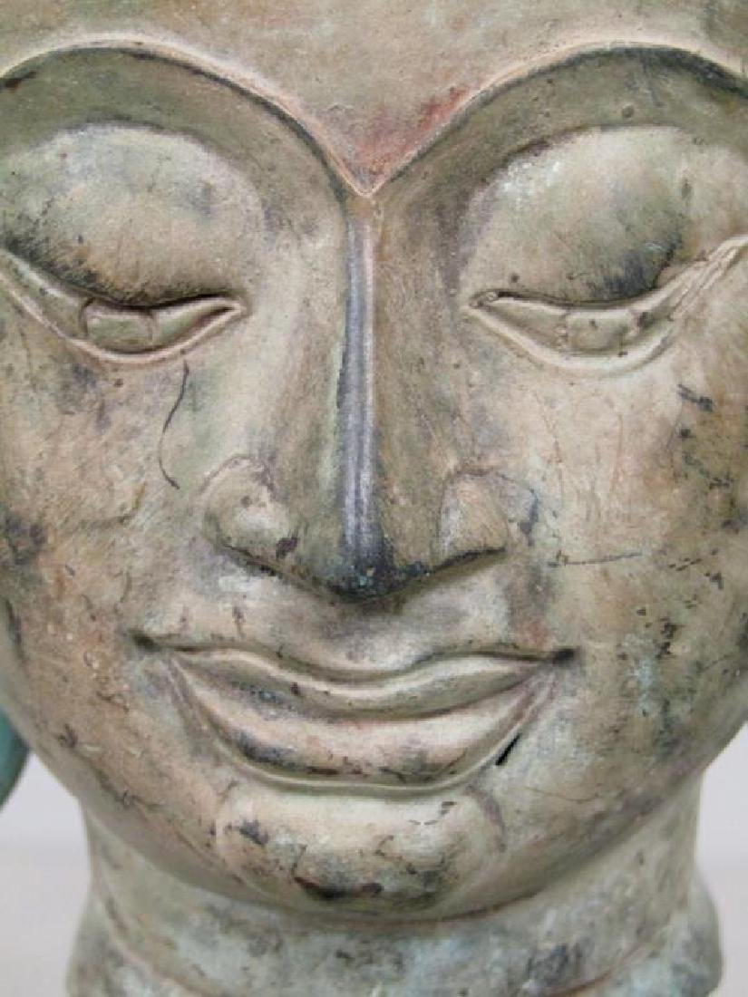 Bronze Bodhisattva Head on Stand - 4