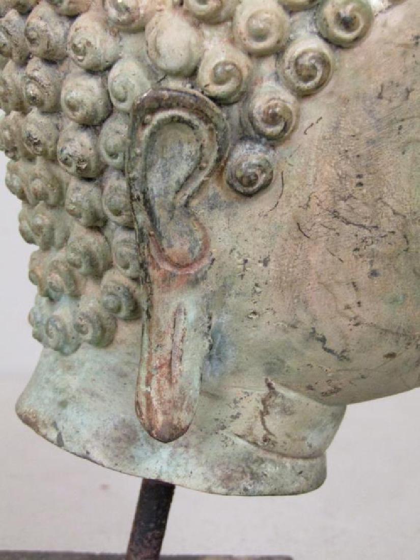 Bronze Bodhisattva Head on Stand - 5
