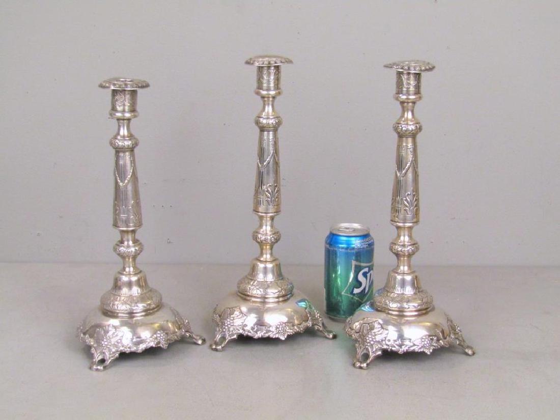 Set of 3 Russian Silver Candlesticks *** - 2