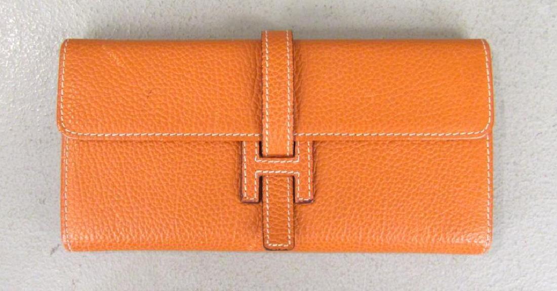 Hermes Orange Leather Wallet
