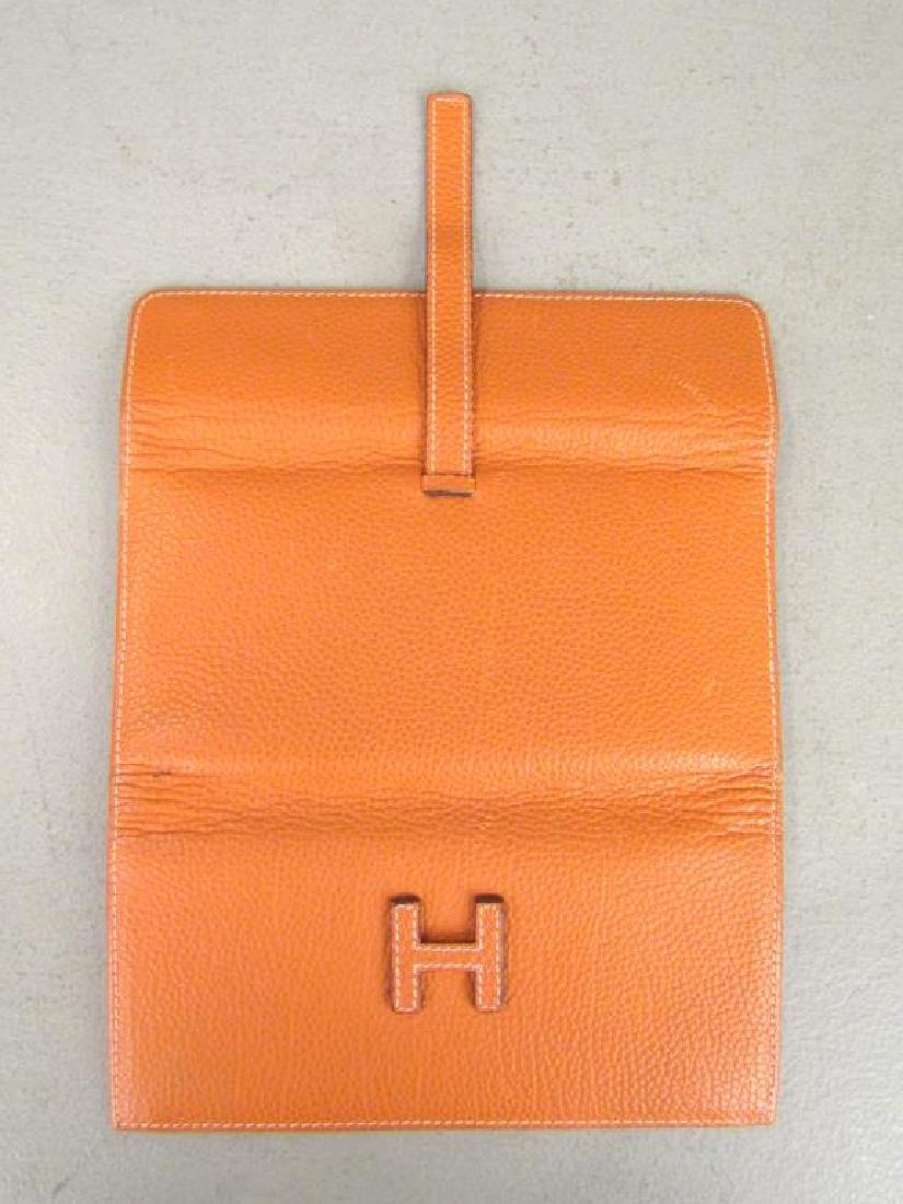 Hermes Orange Leather Wallet - 3