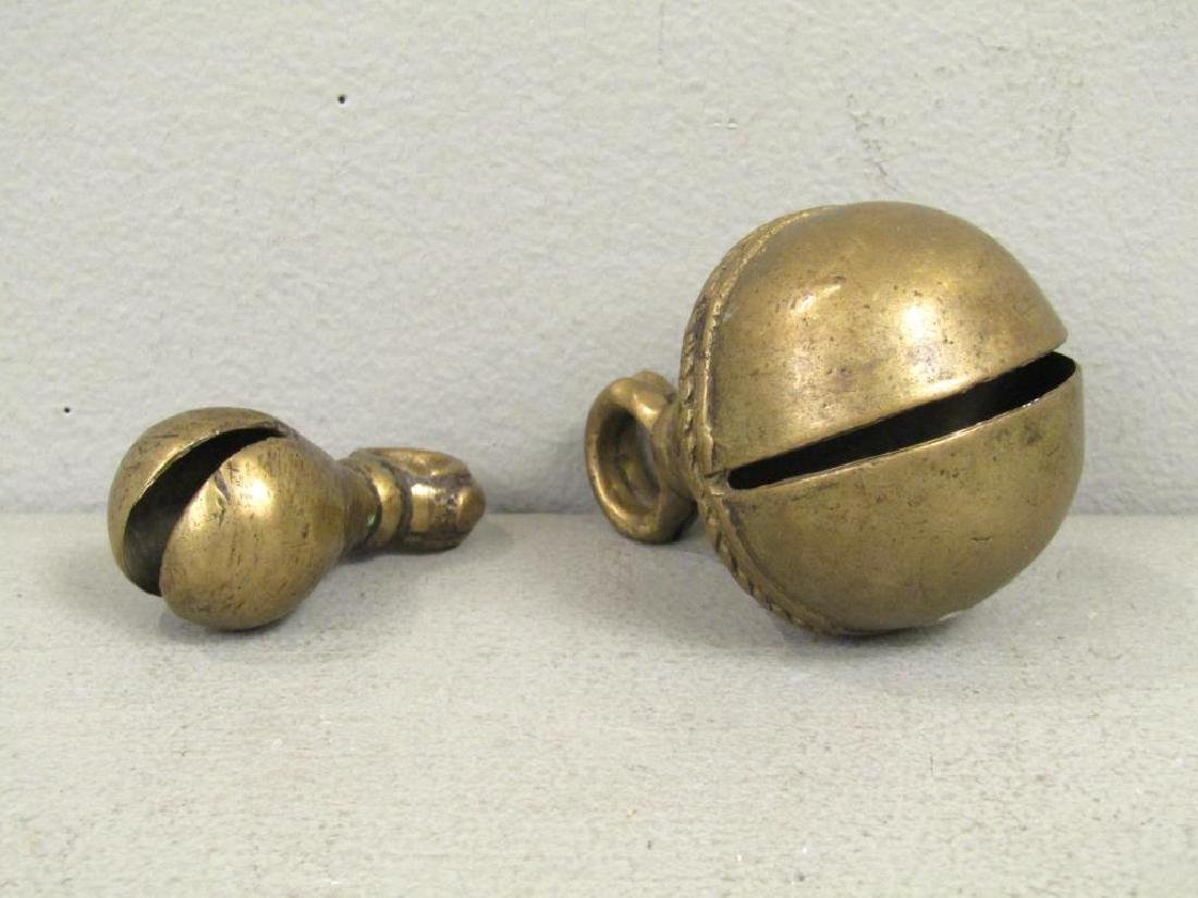 2 Antique Tibetan Brass Yak Bells - 2