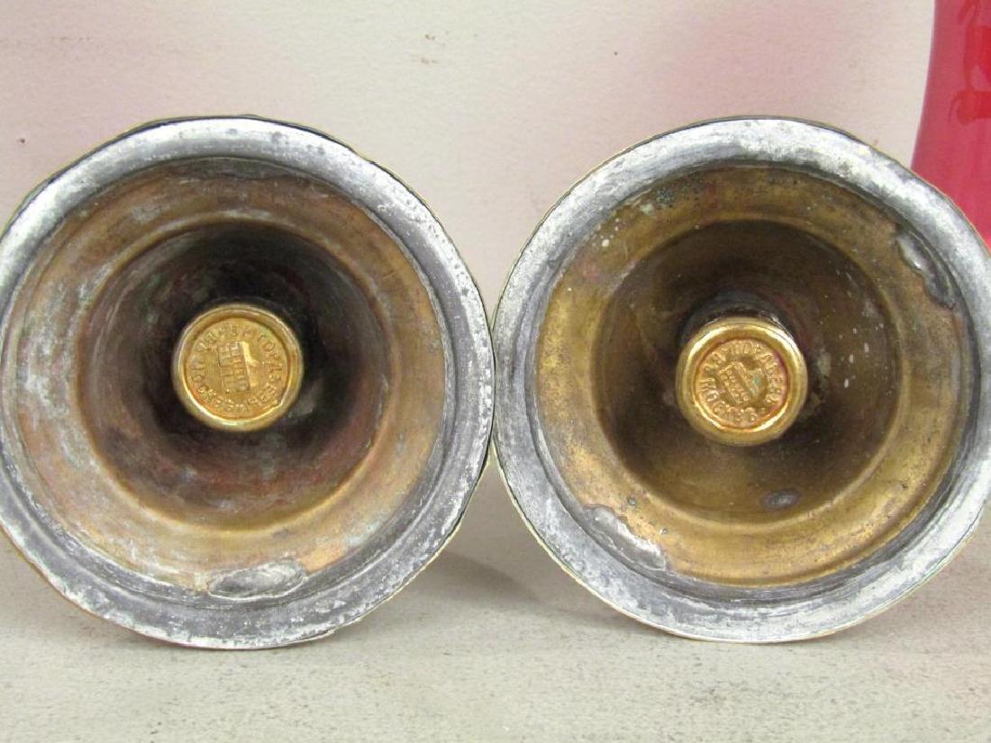 Pair Russian Antique Brass Hurricane Candlesticks - 5