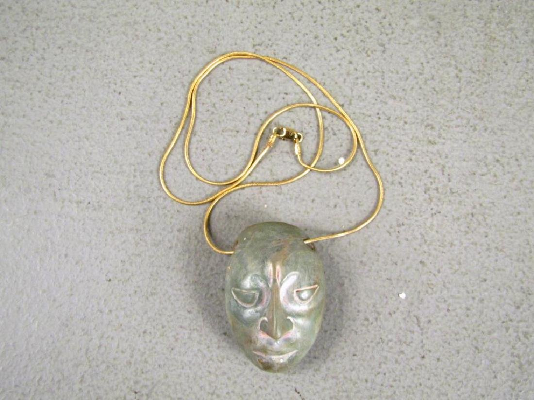Pre-Columbian Stone Head on 14K Gold Necklace