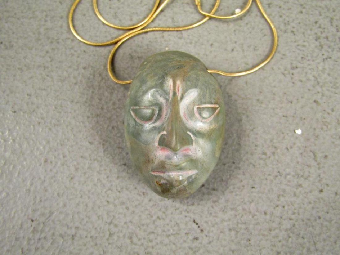 Pre-Columbian Stone Head on 14K Gold Necklace - 2