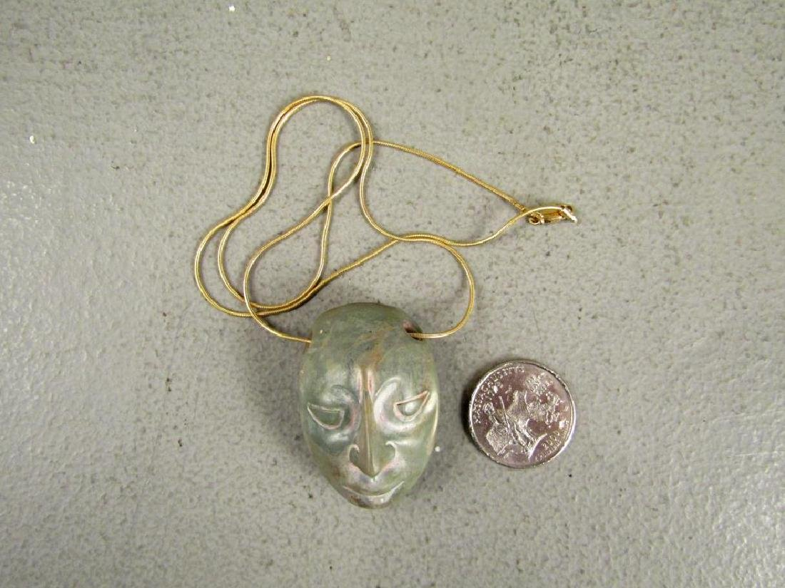 Pre-Columbian Stone Head on 14K Gold Necklace - 4