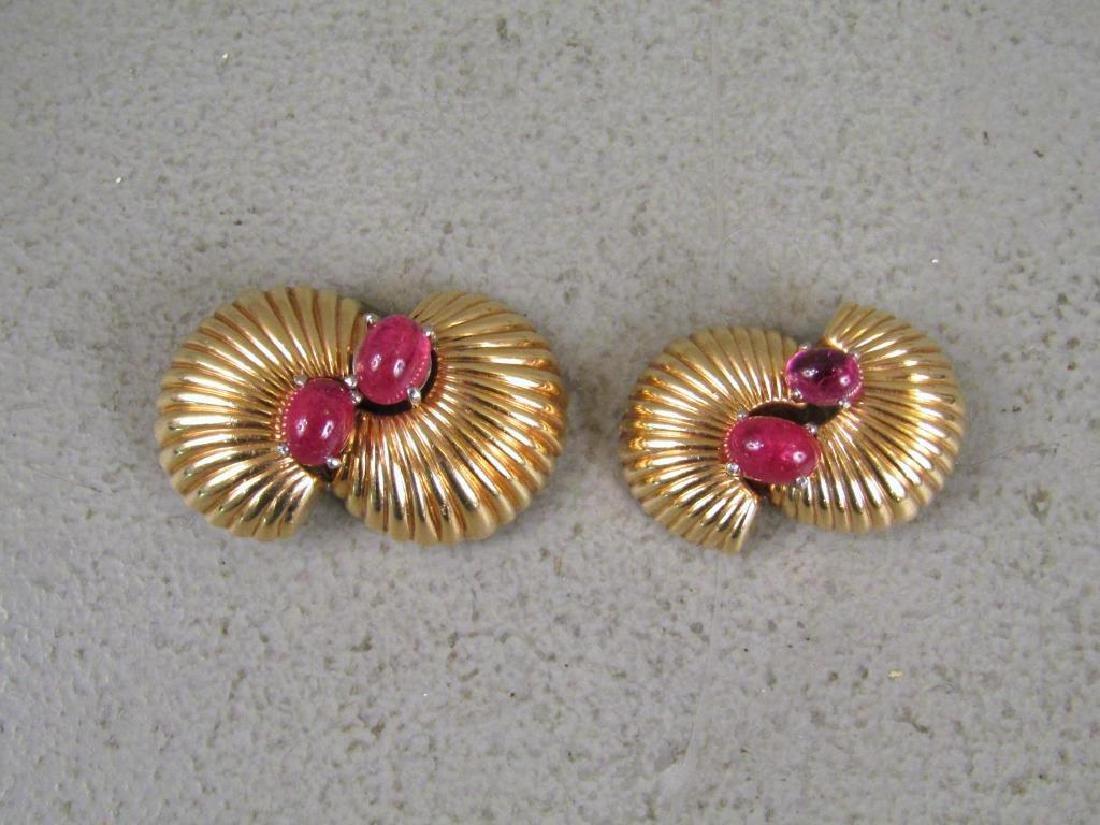 Pair 14K Gold & Pink Tourmaline Clips