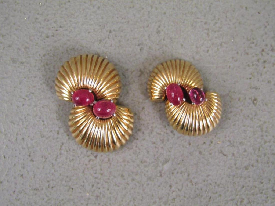 Pair 14K Gold & Pink Tourmaline Clips - 2