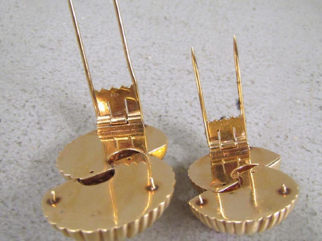 Pair 14K Gold & Pink Tourmaline Clips - 4