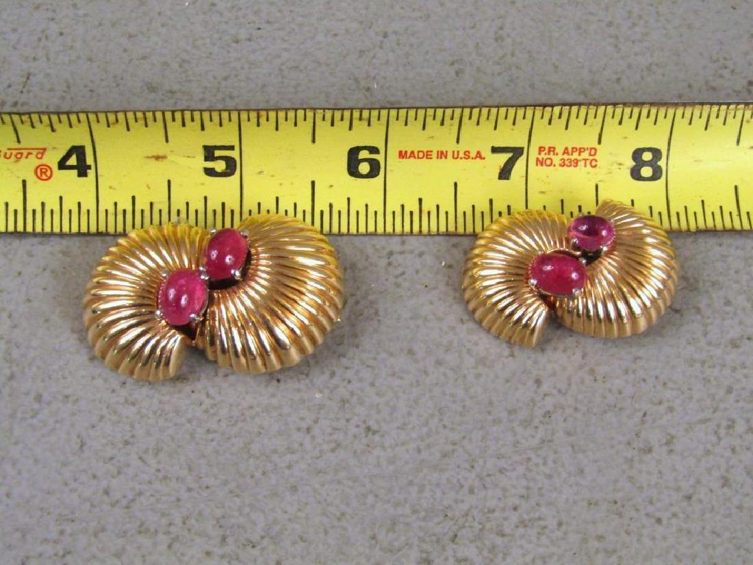 Pair 14K Gold & Pink Tourmaline Clips - 5