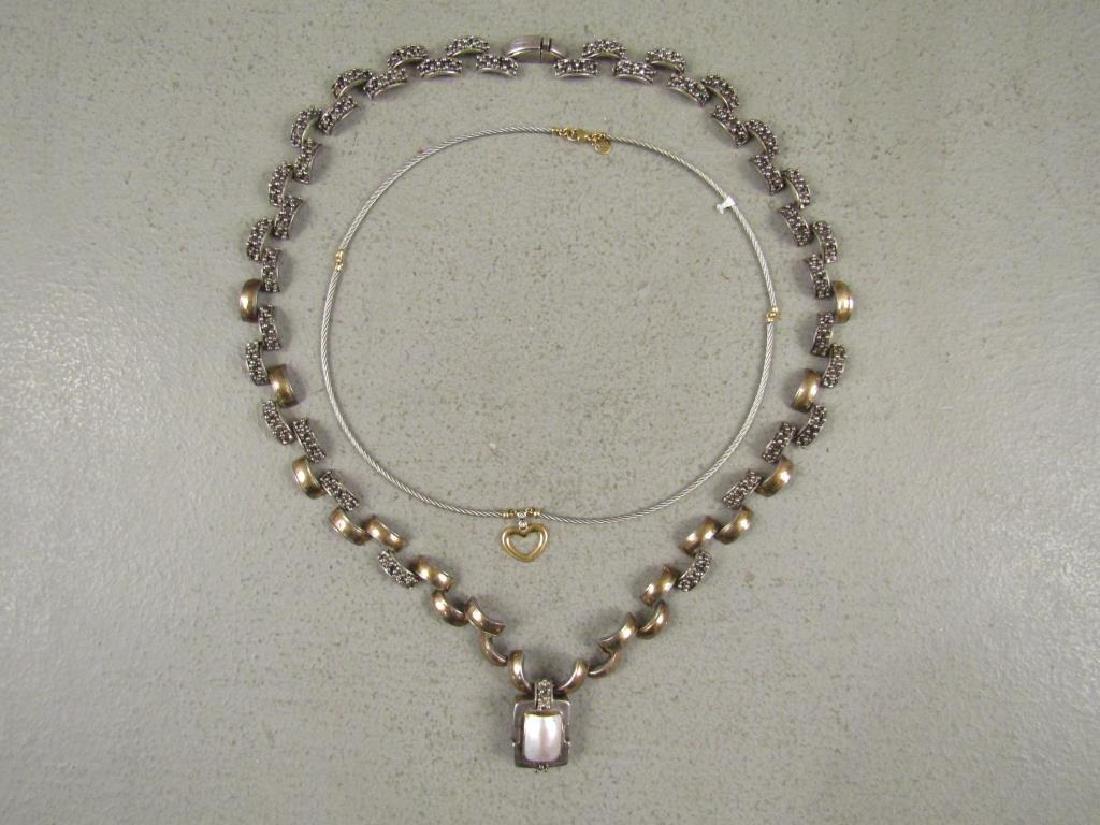 2 Sterling, Gold & Steel Designer Necklaces