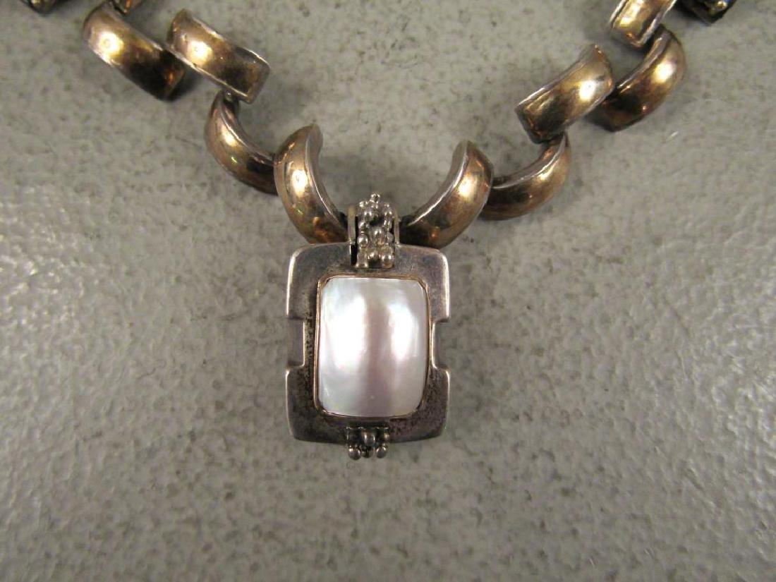 2 Sterling, Gold & Steel Designer Necklaces - 2