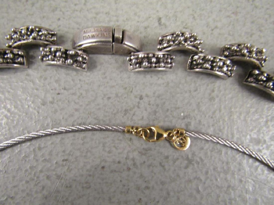2 Sterling, Gold & Steel Designer Necklaces - 4
