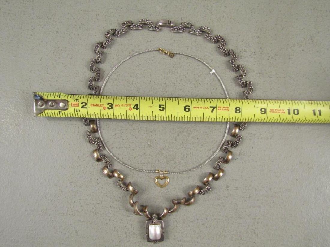 2 Sterling, Gold & Steel Designer Necklaces - 7